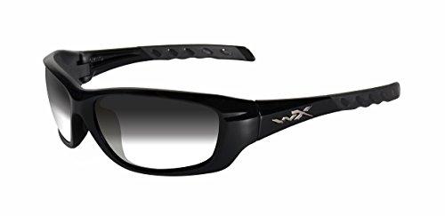Wiley X Gravity Sunglasses, Light Adjusting Smoke Grey, Gloss Black