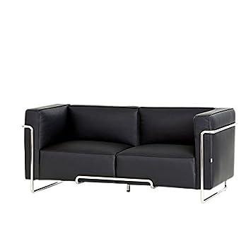 Steijer Brooklyn 2 Sitz Sofa Chrom Rahmen Schwarz Leder Amazon De