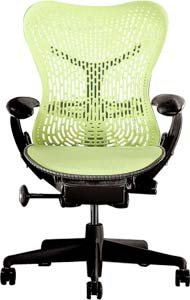 Herman Miller Mirra Chair: Fully Featured - Adjustable Arms - FlexFront Seat - Tilt Limiter - Lumbar Support - Standard Carpet Casters - Graphite Frame/Citron Seat