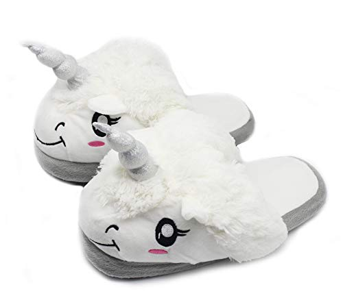 Shoes Home Girls Silver Fluffy Cute Plush Indoor Warm Bedroom House Foam Women Slippers Unicorn Animal Memory Fralosha xIaqfZI