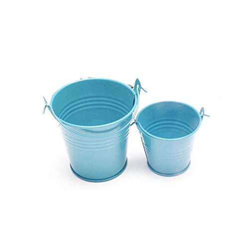 1Pcs Potted Home Candy Craft Ornaments Small Iron Barrel Tinplate Mini Bucket 6 45.5Cm, Light Blue ()
