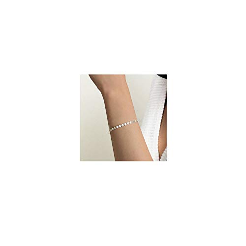 Dainty Silver Coin Chain Bracelet,Simple Delicate Circle Coin Chain Layering Link Bracelets for Women ()
