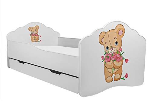Kobi Kinderbett mit Bär, 160 x 80 cm, mit Matratze und Schublade