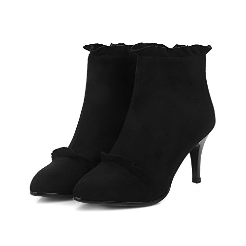 High Heels Suede Imitated Ankle AgooLar Boots Black Solid high Women's Zipper BqSnBgp