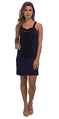 TRINA TURK ALTHEA Womens Fringed Jersy Knit Tank Shift Dress Sz S Navy 180541F