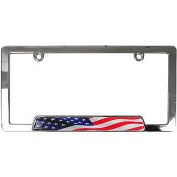 Custom accessories 92830 chrome usa flag license plate frame automotive - Decorative chrome plating ...