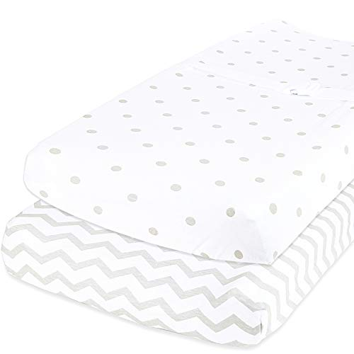 Cuddly Cubs Baby Changing Table Pad Cover Set for Boys & Girls | Soft & Breathable 100% Jersey Cotton | Adorable Unisex Patterns & Fitted Elastic Design | Cute Nursery & Cradle Bedding Sheets 2-Pack