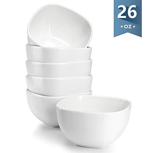 [NEW AND IMPROVED] Sweese 1304 Porcelain Square Bowl Set - 26 Ounce Deep and Microwavable for Cereal, Soup and Fruit - Set of 6, White (Square Cereal Bowl)