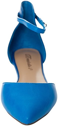 Breckelles Womens Dolley-41 Faux Suede DOrsay Pointed Toe Flats BLUE 7 BbeKI