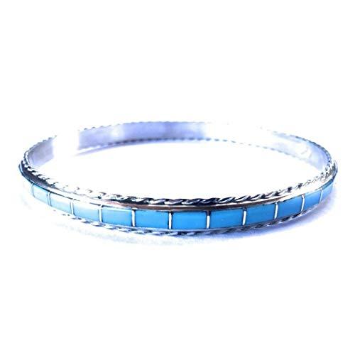 Nizhoni Traders LLC Zuni Inlay Turquoise Sterling Silver Bangle Bracelet from Nizhoni Traders LLC