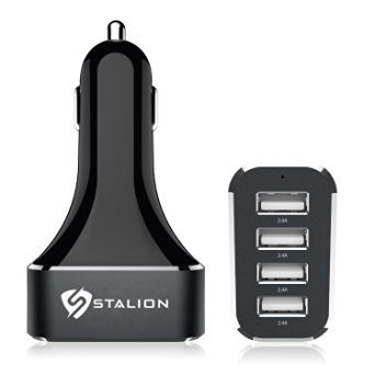 Car Charger : Stalion 4-Port Multiple USB Vehicle Car Charger 9.6Amp 5-Volt 48-Watts (Jet Black)[24-Month Warranty] Device Detection Smart Technology + Colored LED Charging Power Indicator : UNIVERSAL Portable Rapid Travel Charger for iPhone 6 / 6 Plus, iPad Air 2, iPad Mini, Galaxy S5, Note 4, Galaxy Tablet, HTC One, Google Nexus, LG Flex, Moto X, Android, Blackberry, iPod Touch and other MP3 & GPS Devices, Mobile Smartphones & Tablets
