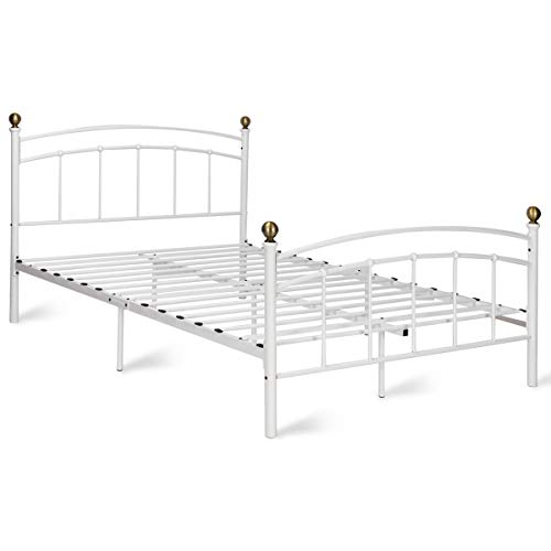 Giantex Metal Bed Frame Metal Platform Slat Support with Headboard and Footboard Home Bedroom Furniture Mattress Foundation with 9 Legs (White, Full Size) (Bed Iron White)