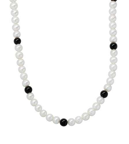 (ISAAC WESTMAN White Freshwater Cultured Pearl Necklace with Black Onyx Beads | 18