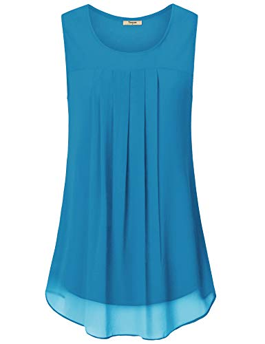 Timeson Womens Dressy Tunics to Wear with Leggings,Plus Chiffon Layered Sleeveless Junior Sleeveless Tops for Skirts Pleated Tunic Flowy Tank Tops Loose Fit Swing Tunics for Women Bright Blue Medium
