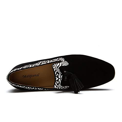 Cordones Casuales White Mocasines Hombre Zapatos Con De Moda Terciopelo Hombres Cuero Borlas 1wqAzpYx
