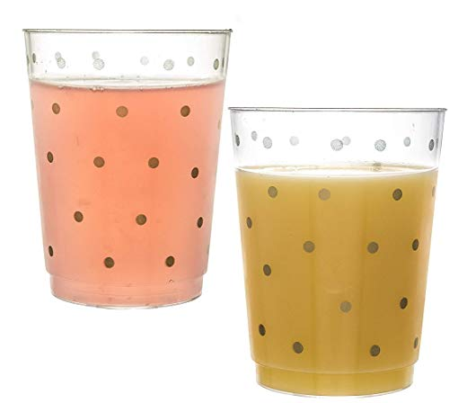 100 Gold Polka Dot Plastic Cups - 10 Oz Clear Plastic Cups Old Fashioned Tumblers -Gold Polka Dot Cups Disposable Wedding Cups Party Cups -