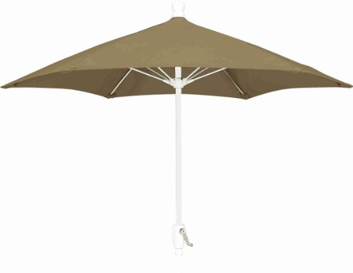 FiberBuilt Umbrellas Patio Umbrella, 7.5 Foot Beige Canopy and White Pole (Fiberbuilt)