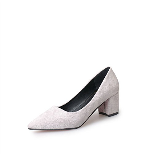 MUYII Chaussures Femme New Pointu Talons Peu Profonde Avec Rugueux Avec Des Chaussures De Travail Gray
