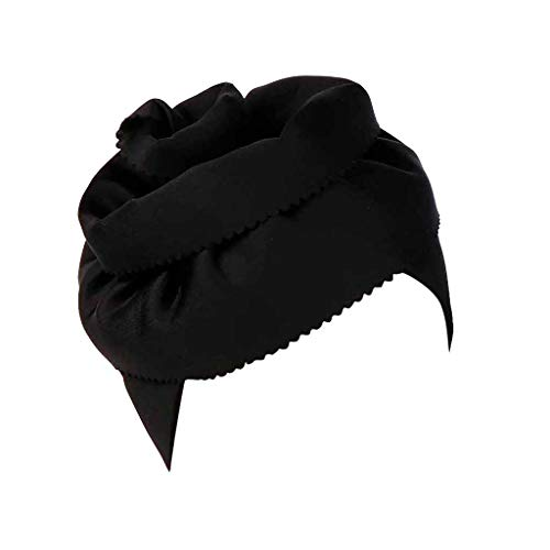 - Zainafacai Womens Elegant Stretch Glitter Flower Hair Loss Turban Hat Chemo Beanie Muslim Head Wrap Black