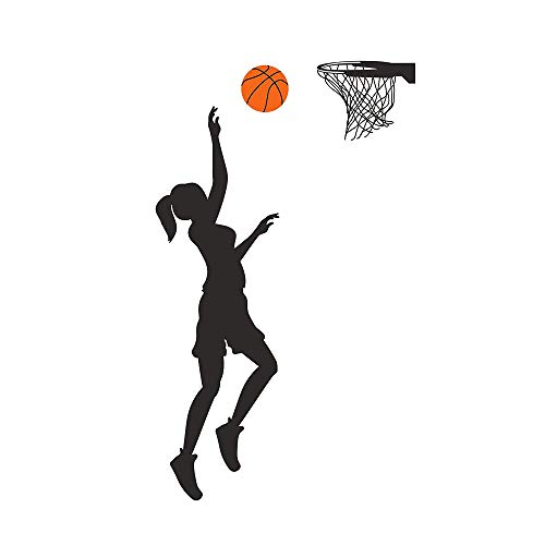 Homefind Basketball Player Wall Decals Basketball Player Silhouette Vinyl Stickers for Nursery Classroom Living Room Boys Girls Room Basketball Lover Basketball Gym Playroom Decals 12''w x 41''h