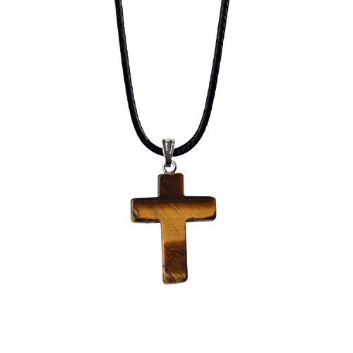ZHEPIN Bless Gems Cross Pendant Necklace Healing Gemstone Symbol of Salvation, Good News -