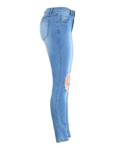 Pantalon Stretch Up Jean Taille Skinny Boyfriend Femme en Haute Crayon Guiran Push Bleu Dchir Jeans xY8PgqwSnZ