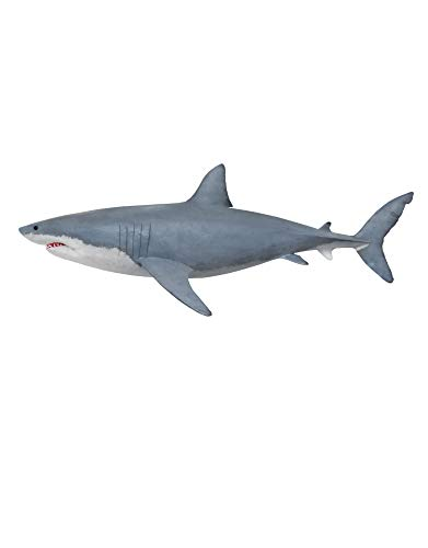 Great White Shark Wall Decal Peel and Stick Giant Life Size Graphic Sticker 19in Tall X 50in Wide #6084s (Facing Left)