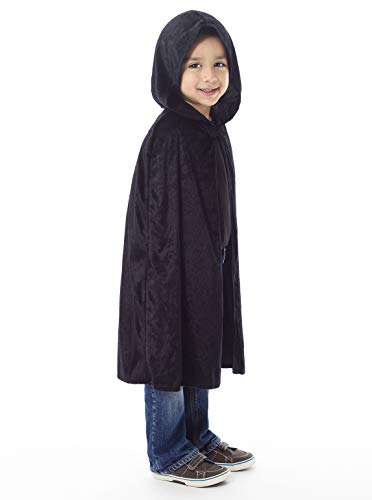 Little Adventures Deluxe Hooded Black Velvet Cloak Cape (Large Age 5-9) ()