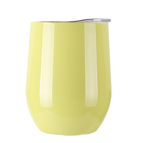 Stainless Steel Wine Glasses, 9 OZ Vacuum Break Resistant Outdoor Drinkware - Type Heat Preservation Cup Great Tumbler for Red Wine, Cocktail and Nonalcoholic Beverages (Yellow-Green)