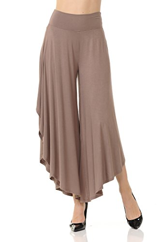 (JDJ CO. Women's Layered Wide Leg Flowy Cropped Palazzo Pants, 3/4 Length High Waist Palazzo Wide Legs Capri Pants (Medium, Iced-Mocha))
