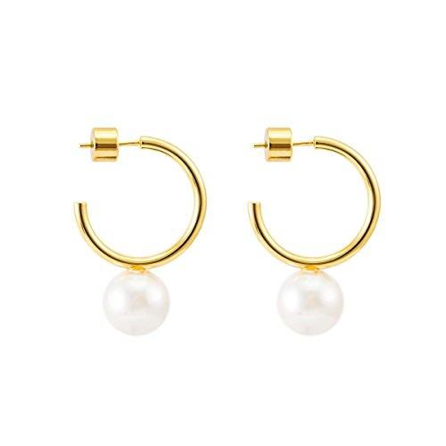Earrings Gold C-hoop 14k (925 Sterling Silver Post 14k Gold Plated Open Cuff Hoop Earrings Natural Gemstone Pearl Hooped Stud Post Minimalist Earrings for Women Ladies Girls Gifts (Small C Shape Gold & Pearl))