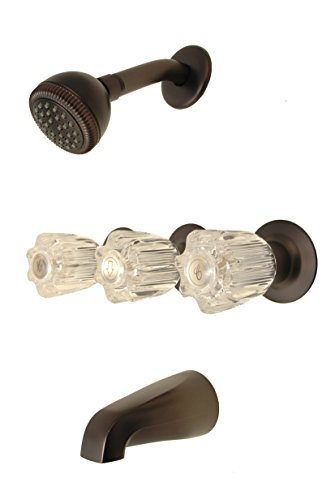 3 Acrylic Handle - Trim Kit for 3-handle Shower Valve, Fit Price Pfister Compression Stem Shower, Oil Rubbed Bronze Finish/Acrylic Handles -By Plumb USA