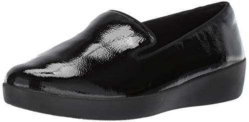 FitFlop Women's Audrey Crinkle-Patent Smoking Slippers Loafer Flat, Black, 7.5 M US