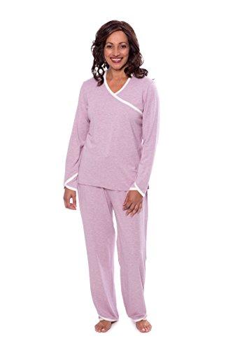 TexereSilk Women's Faux-Wrap Pajama Set - Luxury Sleepwear For Her by Texere (Oasisleep, Heather Lilac, 3X) Great Birthday Presents For Women TX-WB000-007-21P1-X-3X