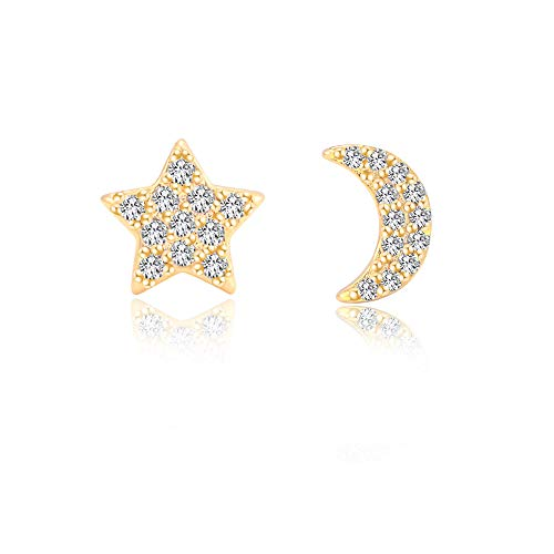 Moon and Star Earrings Gold for Women Girls Hypoallergenic for Sensitive Ears,Tiny Diamond Earrings Studs Nickel Free Stainless Steel Jewelry Gift ()