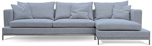 Soho Concept CPST-GT Simena Sectional Sofa with Chrome Plated Steel Tubes Base, Grey Tweed (Soho Sectional Sofa)