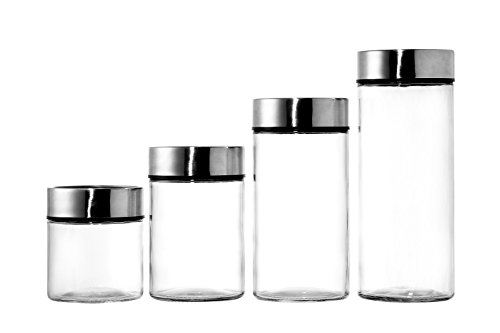 Dry Food Jars - 4 Piece Set - Glass Containers with Date Dial Lids - Kitchen Storage for Dried Goods, Pasta, Herbs, Spices, and More - Airtight Lids - Clear and Silver, 4 Assorted Sizes