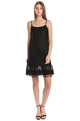 Melody Women's Knit Circle Lace Full Slip Extender With Adjustable Straps (Black, (Circle Lace)