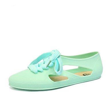 pwne Las Mujeres Sandalias De Verano Jelly Zapatos Casual De Pvc Talón Plano Azul Verde Verde Claro Fucsia Rainbow US6.5-7 / EU37 / UK4.5-5 / CN37