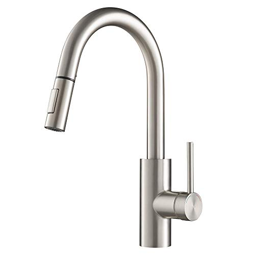 Fit All Faucet Handle Adapter - KRAUS KPF-2620SFS Spot Free Oletto Single Handle Pull Brite Stainless Steel Finish Kitchen Faucet, 15.75