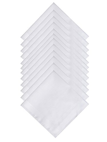 The Forest Saver Pure Cotton Mens Handkerchief/Hankies with Hem White, 12 pack, 16x16