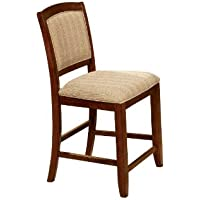 Furniture of America Brahme Padded Fabric Counter Height Chair, Oak Finish, Set of 2