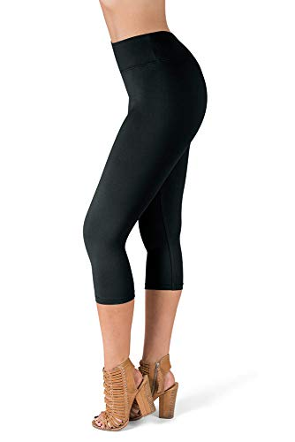 - SATINA High Waisted Super Soft Capri Leggings - 20 Colors - Reg & Plus Size (One Size, Black)
