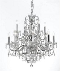 Crystorama 3228-CH-CL-MWP, Imperial Crystal 2 Tier Chandelier Lighting, 12 Light, 720 Watts, Chrome -