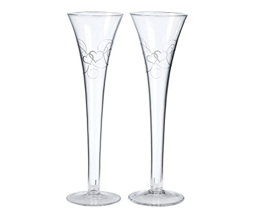 - Lillian Rose Wedding Toasting Flutes Set Silver Heart Decor