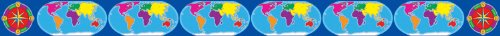 Scholastic TF8131 World Map & Compass Borders with Corners