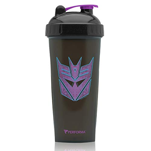 PerfectShaker Performa - DecepticonTransformer Shakers, Best Leak Free Bottle with Actionrod Mixing Technology for Your Sports & Fitness Needs! Dishwasher and Shatter Proof (Blue & Purple) ()
