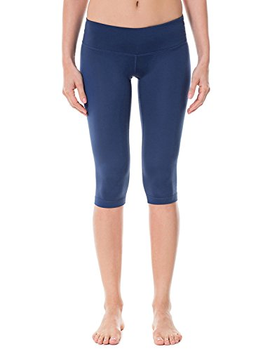 Hihihappy Fashion Women's Running Tights Workout Capris Cropped Pants with Pockets NavyXS (0-2)