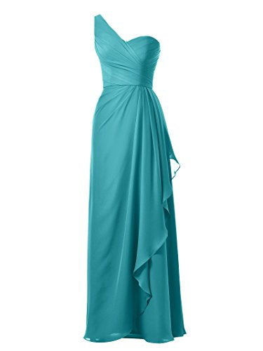 Gown Dress Chiffon Maxi Turquoise Evening Long Bridesmaid Strap One Party Prom Alicepub qzCwfOn