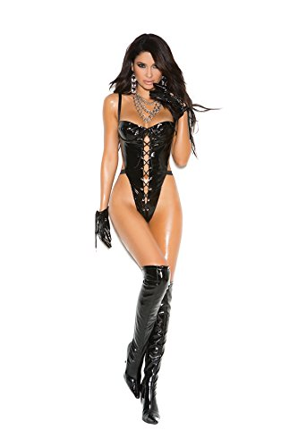 Elegant Moments Women's Naughty By Nature Vinyl G-String Teddy Black One Size Fits Most Front Vinyl Teddy